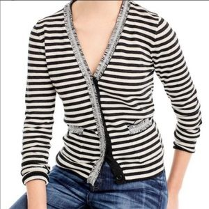 J. CREW Striped Harlow Cardigan 100% Wool